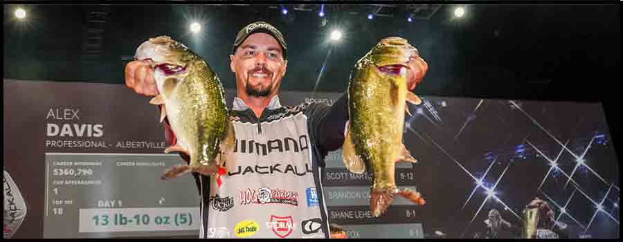 Alabama's Davis Grabs Lead on Day One of Professional Bass Fishing's Forrest Wood Cup